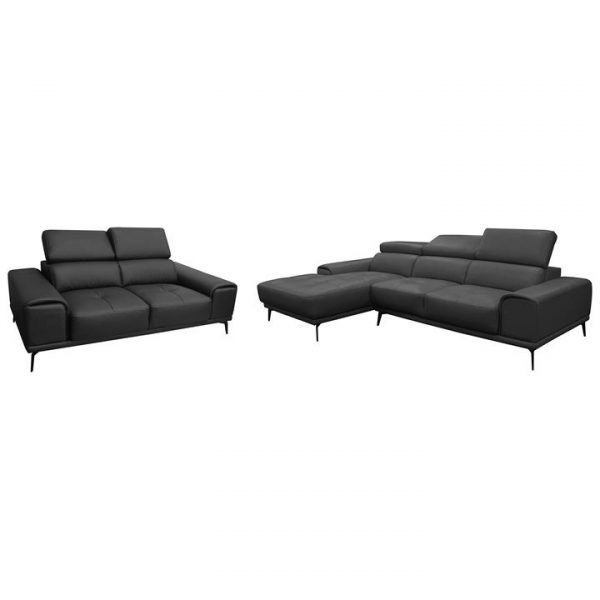 Avezzano 2 Piece Leather Corner Sofa Set, 2 Seater with LHF Chaise + 2 Seater, Black