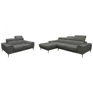 Avezzano 2 Piece Leather Corner Sofa Set, 2 Seater with LHF Chaise + 2 Seater, Gunmetal