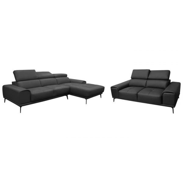 Avezzano 2 Piece Leather Corner Sofa Set, 2 Seater with RHF Chaise + 2 Seater, Black