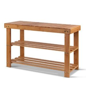Bamboo Shoe Rack Wooden Seat Bench Organizer Shelf Stool