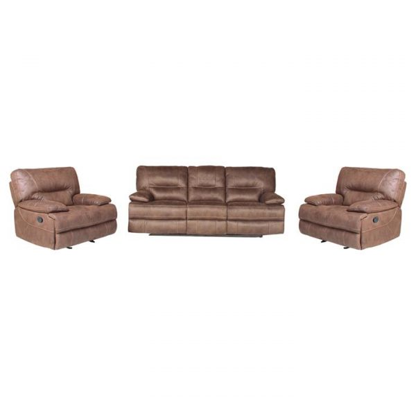 Boulder 3 Piece Fabric Recliner Sofa Set, 3+1+1 Seater
