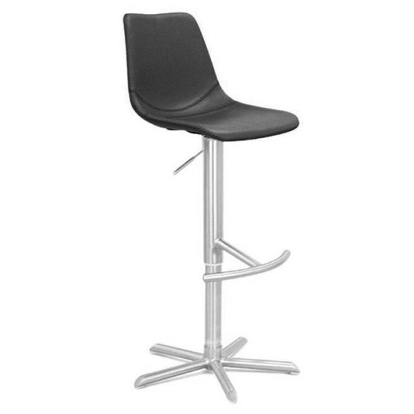 Bunnell PU Leather Gas Lift Bar Stool, Black