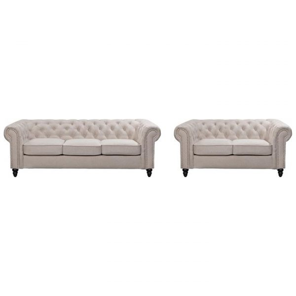 Carville 2 Piece Fabric Chestfield Sofa Set, 3+2 Seater