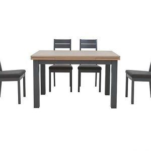 Cayenne Extending Dining Table and 4 Cayenne Slatted Dining Chairs