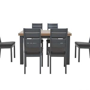 Cayenne Extending Dining Table and 6 Cayenne Slatted Dining Chairs