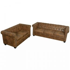 Chesterfield 2-Seater and 3-Seater Sofa Set Brown | Afterpay | zip |