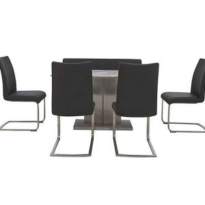 Cocoon Dining Table, 4 Chairs and High Back Bench - Black