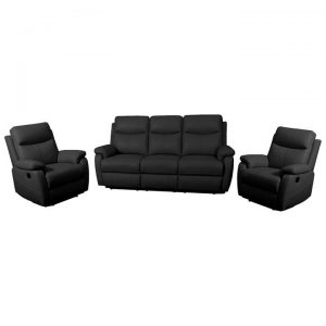 Colson 3 Piece Leather Recliner Sofa Set, 3+1+1 Seater, Black