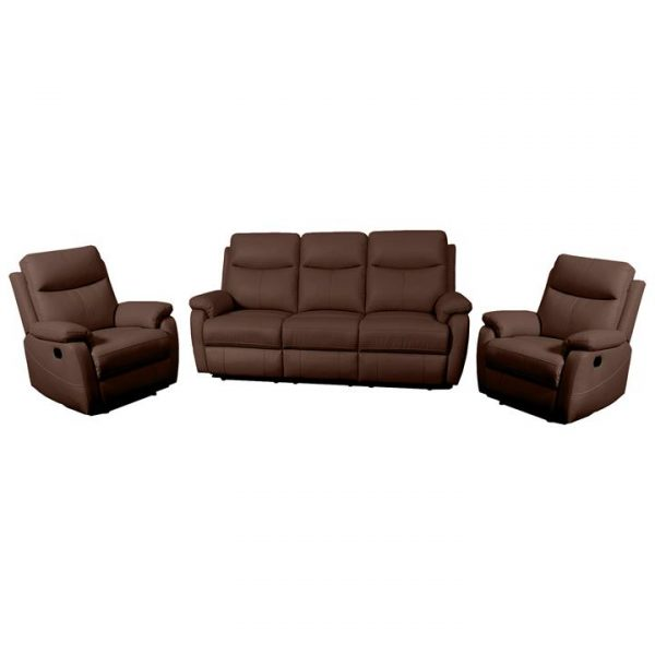 Colson 3 Piece Leather Recliner Sofa Set, 3+1+1 Seater, Brown
