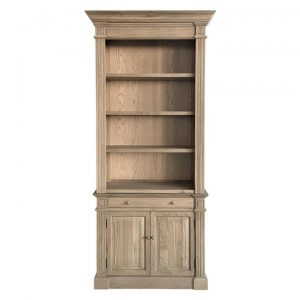 Dundee Oak Timber Library Bookcase, 108cm, Weathered Oak