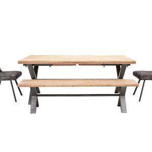Earth Large Dining Table, 2 Dining Chairs and Large Dining Bench
