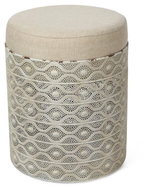 Filigree Round Metal Stool with Cushion - Antique White/Beige