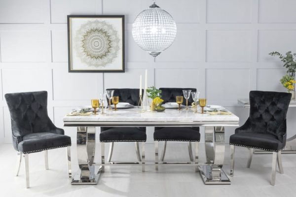 Gallina 180cm White Marble and Chrome Dining Table with 6 Black Knockerback Chrome Leg Chairs
