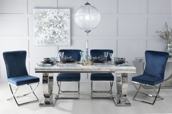 Gallina 200cm Grey Marble and Chrome Dining Table with 6 Avila Blue Chairs