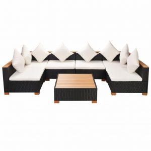 Garden Sofa Rattan Poly Wood Top Set (21 Pcs) - Black
