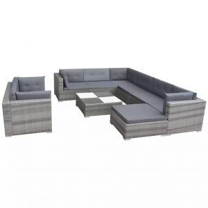 Garden Sofa Set Poly Rattan Grey 32 Pieces