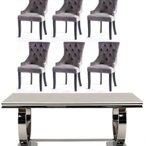 Get 2 Extra Chairs FREE with Vida Living Arianna Cream Marble and Chrome 180cm Dining Table - 4 Grey Knockerback Chairs