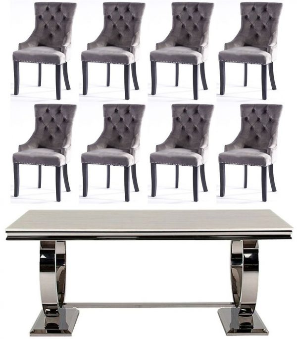 Get 2 Extra Chairs FREE with Vida Living Arianna Cream Marble and Chrome 200cm Dining Table - 6 Grey Knockerback Chairs