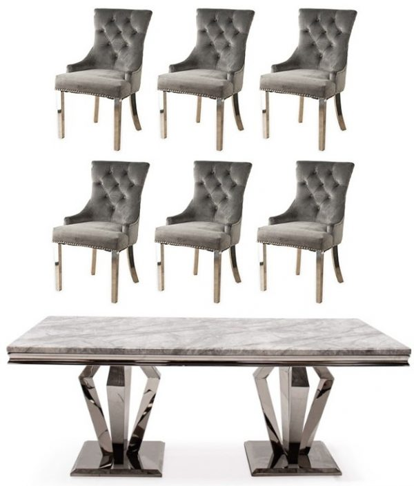 Get 2 Extra Chairs FREE with Vida Living Arturo Grey Marble and Chrome 160cm Dining Table - 4 Grey Knockerback Chrome Leg Chairs