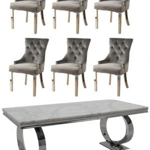 Get 2 Extra Chairs FREE with Vida Living Selene White Marble and Chrome 200cm Dining Table - 4 Grey Knockerback Chrome Leg Chairs
