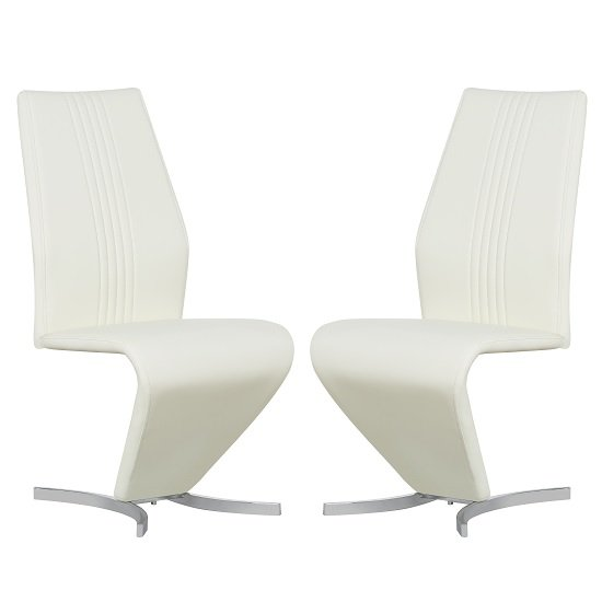 Gia Modern Dining Chairs In Cream Faux Leather In A Pair