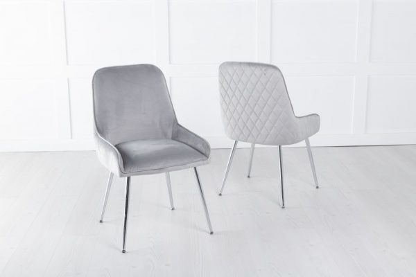 Hailey Light Grey Velvet Back Quilted Dining Chair with Chrome Legs