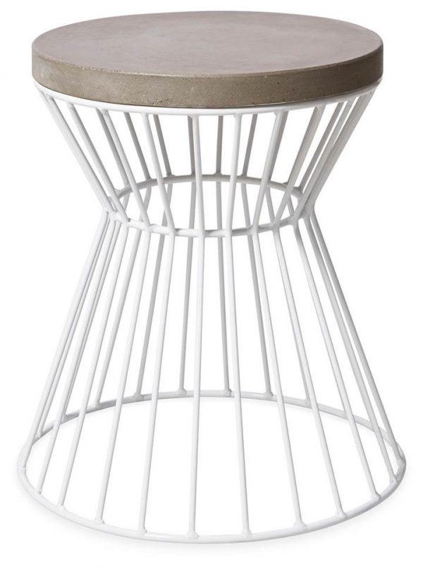 Hamptons Indoor/Outdoor Iron and cement Stool - White/Grey