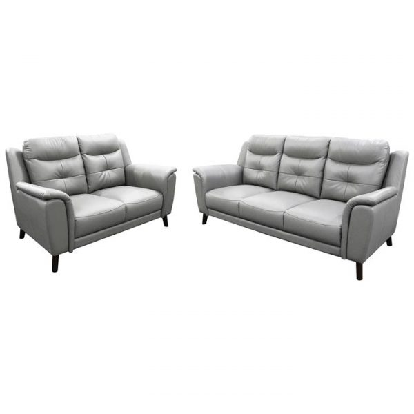 Hexam 2 Piece Leather Sofa Set, 3+2 Seater, Silver
