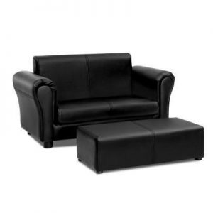 Kids Sofa Armchair Footstool Set Children Lounge Chair Couch Double - Black