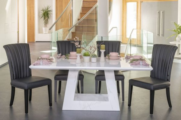 London 180cm White Marble Dining Table with 4 Nova Black Gloss Slatted Back Chairs and Get 2 Extra Chairs Worth £358 For FREE