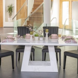 London 200cm White Marble Dining Table with 4 Nova Black Gloss Slatted Back and Get 2 Extra Chairs Worth £358 For FREE