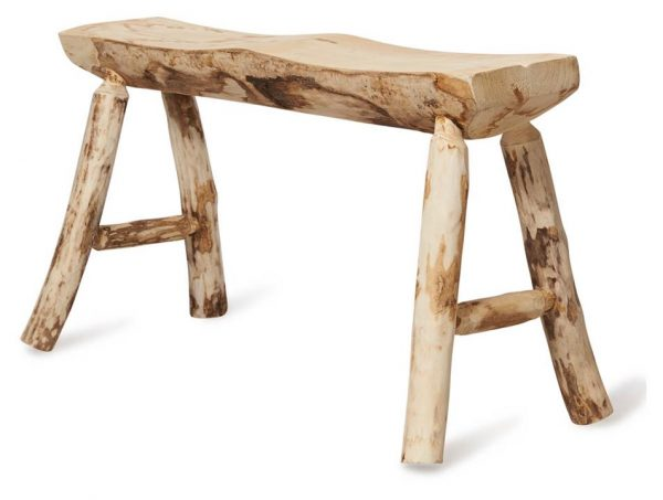 Malang 4 Leg Paulownia Wood Two Seater Stool Large - Bleached