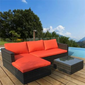 Malibu 3pc Outdoor Sofa Furniture Set wit | Afterpay | zipPay | Oxipay