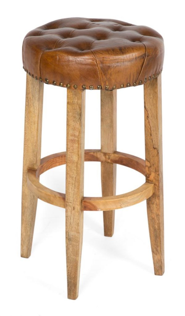 Manhattan Round Wood and Leather Stool - Tan - 66cm