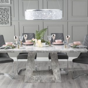 Mesilla 200cm Grey Marble Dining Table with 6 Nevada Dark Grey Brushed Metal Base Chairs