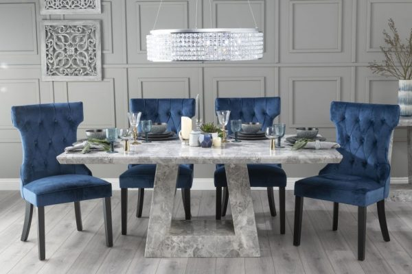Mesilla 200cm Grey Marble Dining Table with Coventry Blue Chairs