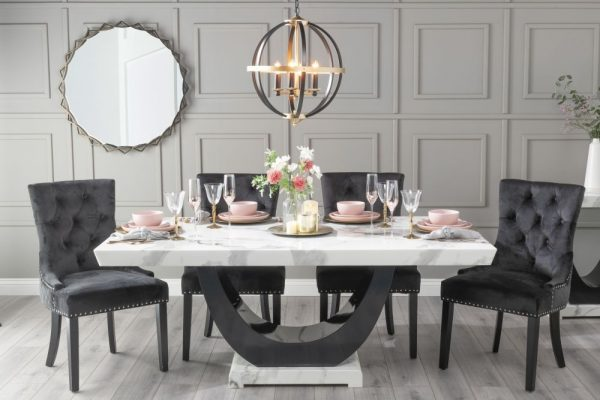 Monterey 160cm White Marble Dining Table with 6 Black Knockerback Chairs