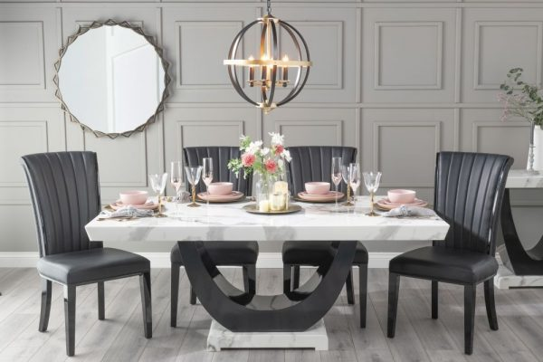 Monterey 160cm White Marble Dining Table with 6 Nova Black Chairs