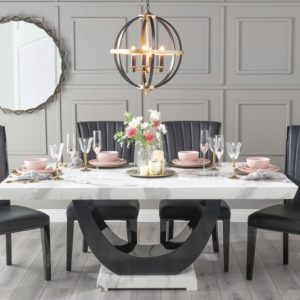 Monterey 200cm White Marble Dining Table with 6 Nova Black Chairs