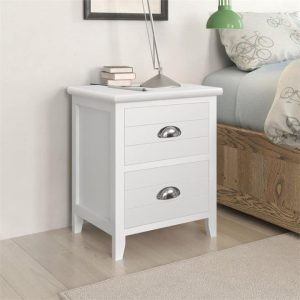 Nightstand 2 pcs with 2 Drawers White | Afterpay | zip | Laybuy
