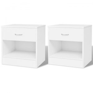 Nightstand 2 pcs with Drawer White | Afterpay | zip | Laybuy