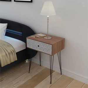 Nightstand with 1 Drawer Rectangular Brown | Afterpay | zip | Laybuy