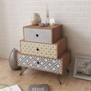 Nightstand with 3 Drawers Brown | Afterpay | zip | Laybuy