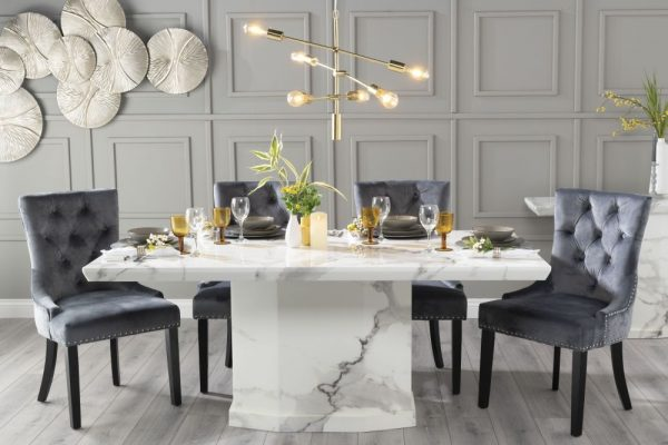 Novelty 180cm White Marble Dining Table with 6 Grey Knockerback Chairs
