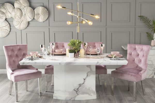 Novelty 180cm White Marble Dining Table with 6 Pink Knockerback Chrome Leg Chairs