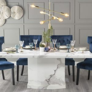 Novelty 200cm White Marble Dining Table with 6 Coventry Blue Chairs