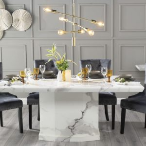 Novelty 200cm White Marble Dining Table with 6 Grey Knockerback Chairs