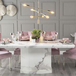 Novelty 200cm White Marble Dining Table with 6 Pink Knockerback Chrome Leg Chairs