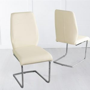 Olga Cream Faux Leather Swing Dining Chair with Brushed Metal Base