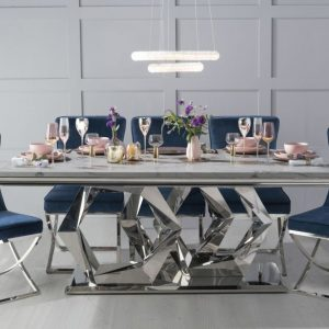 Osborne 200cm Grey Marble and Chrome Dining Table with 6 Avila Blue Chairs